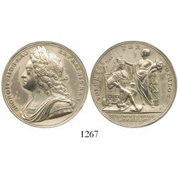 Great Britain, silver medal, 1727, coronation of George II, by John Croker.