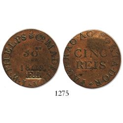 "Madeira Islands, copper 50 reis token, 1802, I.W. Phelps & Co., with incuse ""F.I."" countermark (Fern"