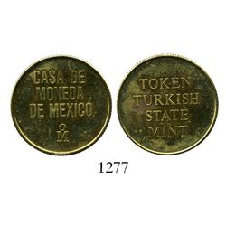 Mexico, brass mint-trial token for Turkish 100 kurus (ca.1980) struck at the Mexico City mint.