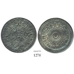 Mexico, white-metal (pewter?) medal of the Mayan calendar with Spanish/English interpretation sheet.