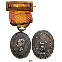 Puerto Rico (under Spain), oval silver-plated brass military medal (with ribbon-pin), Alfonso XII, V