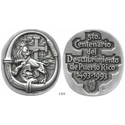 Matte silver-plated bronze medal made by artist Lorenzo Homar (1913-2004) in 1993 to commemorate the