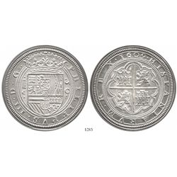 Spain, silver medal (1980s?) of a Segovia 50 reales (cincuentin) 1609C made from art school dies fro