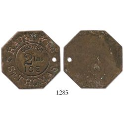 St. Thomas, Virgin Islands, octagonal copper token for 2 lb of ice, Raven & Co. (ca. 1890), rare.