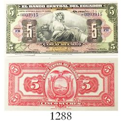 American Bank Note Company for El Banco Central del Ecuador, 5 sucres banknote, 1947, series FH, low