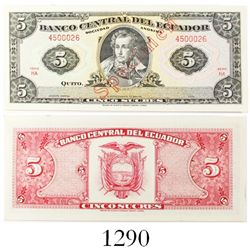Thomas de la Rue Company (London) for El Banco Central del Ecuador, specimen (red) 5 sucres banknote