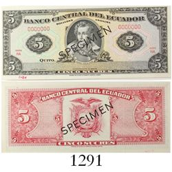 Thomas de la Rue Company (London) for El Banco Central del Ecuador, specimen (black) 5 sucres bankno