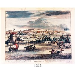 Early 18th-century German copper-plate engraving of Cartagena, Colombia, by Martin Engelbrecht (1684