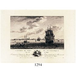 Late 18th-century French copper-plate engraving of the entrance to the port of Dunkirk, France, in 1
