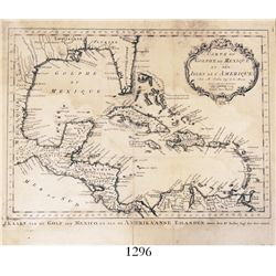 1762 Dutch copper-plate engraving of a French map of the Caribbean by Jacques Nicolas Bellin, entitl