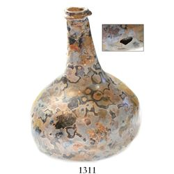 "Glass ""onion"" bottle with beautifully marbled exterior (intact except for small pit)."