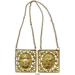 Gold filigree devotional scapular with chains.
