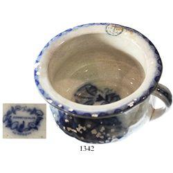 "Scottish blue-and-white porcelain chamber pot, intact, ""CONVOLVULUS / J&MPB&Co."" logo on bottom."