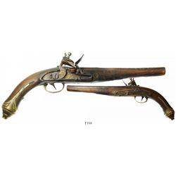 Mediterranean flintlock pistol, 1700s, with contemporaneous repairs.