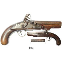 Small, European flintlock pistol, early 1800s(?), with touchmarks on barrel.