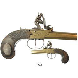Small, European boxlock pistol, late 1700s.