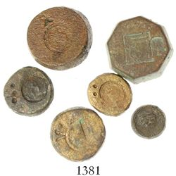 Lot of 6 brass/bronze coin weights, Spanish colonial (1500s).