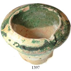 Earthenware mortar with green glaze, Spanish colonial (1500s).