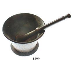 Brass mortar-and-pestle set, ca. 1820s.