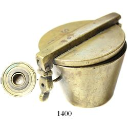 Brass nested cup-weight set with case, probably 1600s-1700s, from Ecuador.