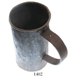 Large iron tankard, mid-1700s, found on the site of a tavern built in 1750 in the Hudson River Valle