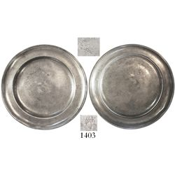 German(?) pewter plate with markings for ELIAS / BEYERBAC(H), early 1800s.