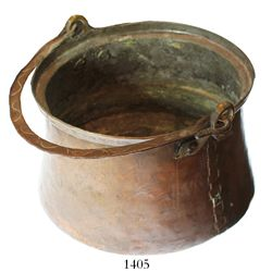 US colonial-era copper pot with stitched bottom, late 1700s.