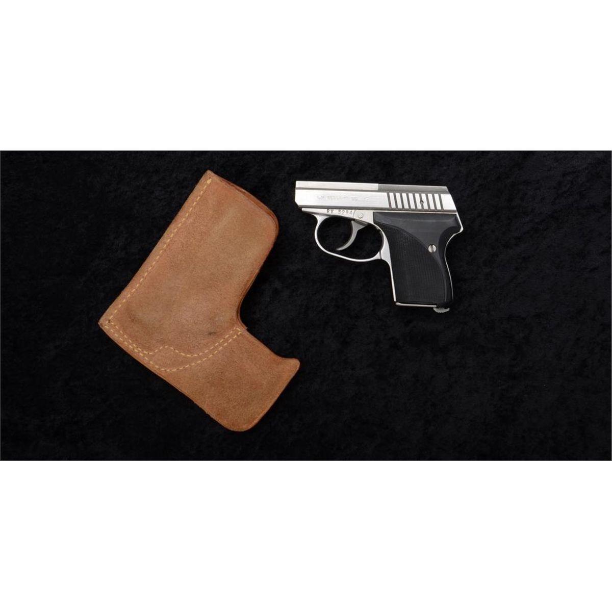 "L W  Seecamp Co  DA pocket semi-auto pistol,  32 cal , 2"" barrel, stainless  steel, checkered black"