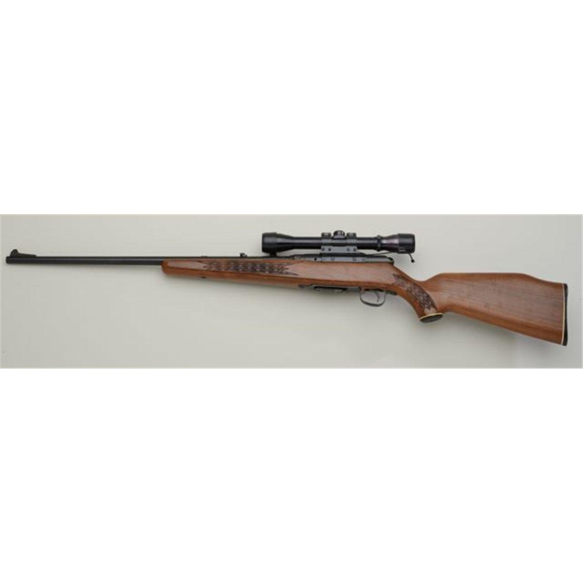 "Savage Model 340 Series E bolt-action rifle,  22 Hornet cal , 24"" round  barrel, black finish, che"