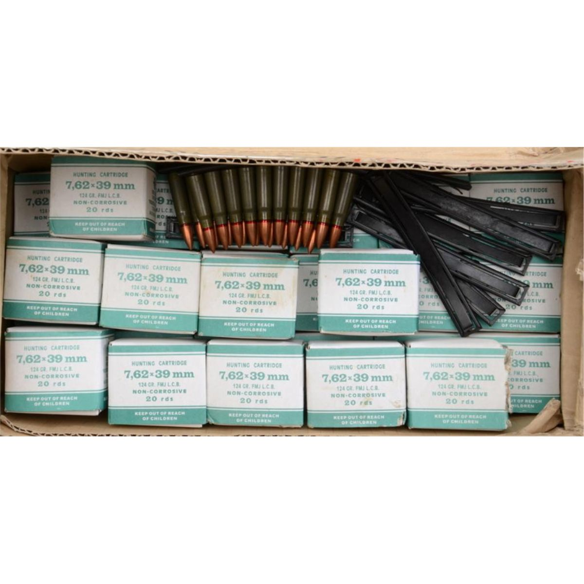 "Misc  lot of surplus military rifle ammo including a military metal can of  loose marked "" 308"""