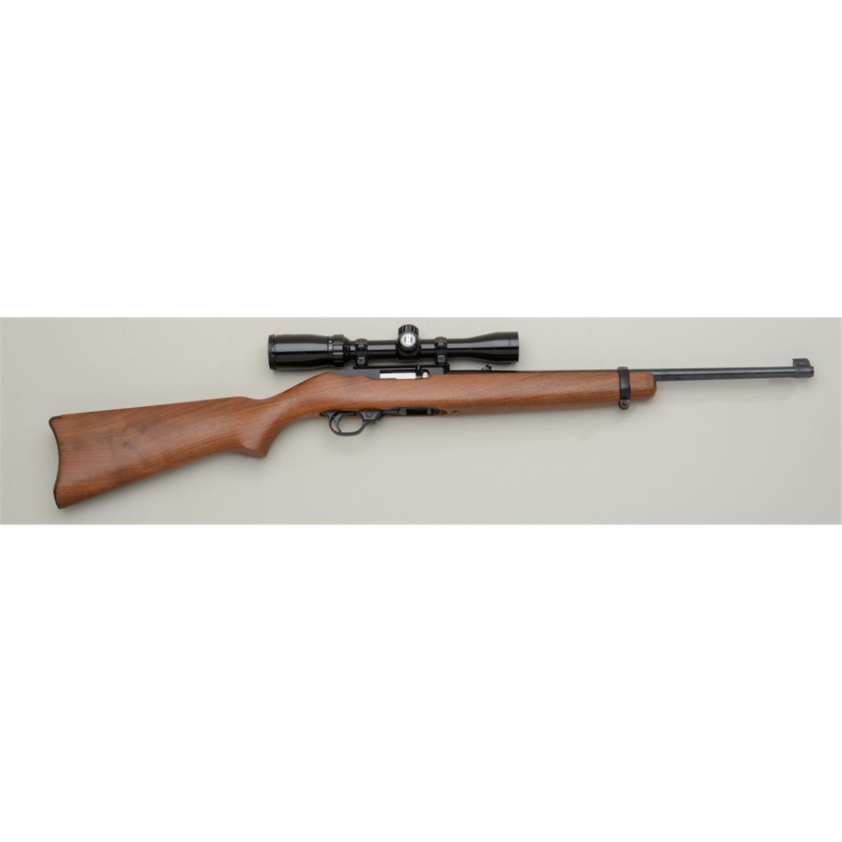 "Ruger Model 10/22 semi-auto rifle,  22LR cal , 18-1/2"" barrel, black  finish, wood stock, mounted w"