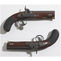 circa 1807: Early pair of trial percussion pistols by Joseph Egg with permission by Forsyth.