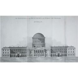 1813: Dublin Courts of Justice plans and elevation engraving