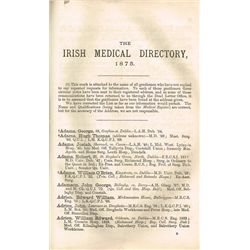 Collection of medical history books including Irish Medical Directory 1875