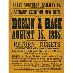 1885: Great Northern Railways Co. Artisans' Exhibition poster