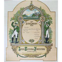 circa 1910: Irish National Foresters decorative membership certificate