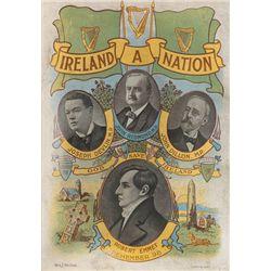 "circa 1910: Home Rule ""Ireland A Nation"" print"