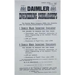 1910: Daimler Motor Company scholarships poster