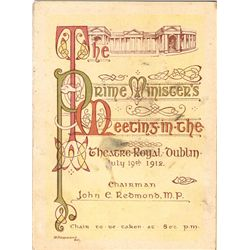 1912: Home Rule Prime Minister's meeting invitation and ticket