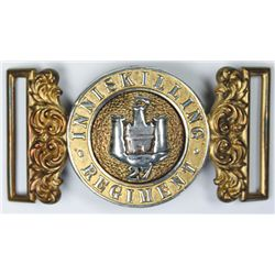 circa 1880: Royal Inniskilling Fusiliers officer's waist belt clasp