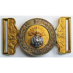 circa 1890: Royal Irish Fusiliers officer's waist belt clasp