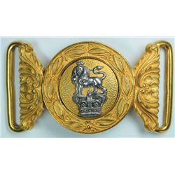circa 1890: British Army general pattern officer's waist belt clasp