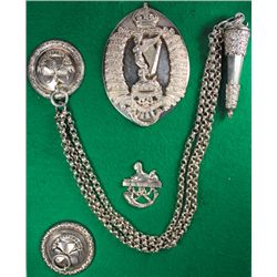 1908: Royal Irish Rifles pouch belt badge, whistle and belt plate