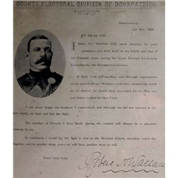 1899 (1 May) Colonel Robert H. Wallace Downpatrick electoral letter of thanks