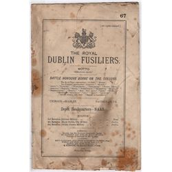 1882-1921: Royal Dublin Fusiliers embroidered crest and regimental history