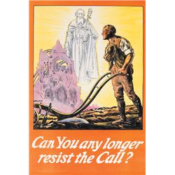 "1914-18: First World War Irish recruitment poster ""Can you any longer resist the call?"""
