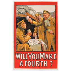 "1914-18: First World War Irish recruiting poster ""Will you make a fourth?"""
