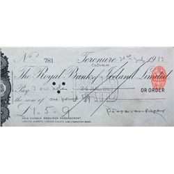 1913 (31 July) Padraig Pearse signed cheque