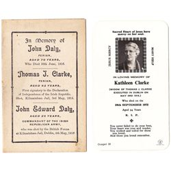 1916 Rising: Tom and Kathleen Clarke memorial cards and signature