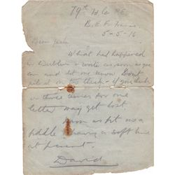1916 (5 May) Irish soldier's letter relating to the 1916 Rising